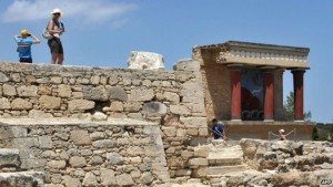 The palace of Knossos on Crete is now a major tourist attraction