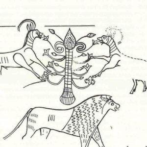 De godin als heillige boom uit Kuntillet el-Agrud, zie Van Venus tot Madonna, 399; Venus is geen Vamp, 306 [II.4.30]; Language of Ma, 418 [II.4.31].
