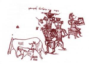 De koe en haar kalfje uit Kuntillet el-Agrud, zie van Venus tot Madonna, 399; Van Sophia tot Maria, 142; Venus is geen Vamp, 270 [II.3.81]; The Language of MA, 386 [II.3.54a]..jpg